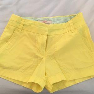 Jcrew chinco yellow shorts size 00